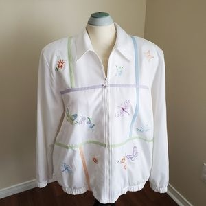 Alfred Dunner/ White Jacke With Butterfly/ Size 14
